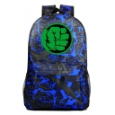 Unisex Fashion Green Hand Printed Blue Casual School Bag Backpack 31*18*47 CM