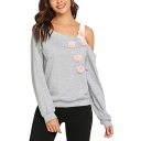 Chic Floral Embellished Cold Shoulder Long Sleeve Grey Plain Sweatshirt