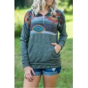 Retro Tribal Printed Half-Zip Lapel Collar Long Sleeve Casual Loose Sweatshirt with Pocket