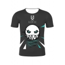 Black Ice Comic Figure Pattern Round Neck Short Sleeve Black T-Shirt