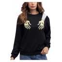 Funny Cool Eye Hand Printed Womens Long Sleeve Round Neck Black Loose Fit Sweatshirt