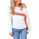 Trendy Rainbow Stripe Printed One Shoulder Long Sleeve White Casual Sweatshirt