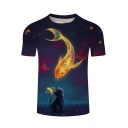 Fish and Cat Galaxy 3D Pattern Round Neck Short Sleeve T-Shirt