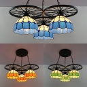 Metal Wheel Pendant Light with Grid Glass Shade 3 Lights Tiffany Industrial Hanging Light in Blue/Green/Orange