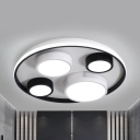 Nordic Black&White LED Flush Mount Light Round Acrylic Ceiling Light in Warm/White for Child Bedroom