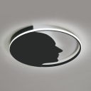 Creative Human Face Ceiling Mount Light Metal LED Flush Light in Warm/White for Child Bedroom
