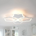 Metal Star Semi Flush Mount Light Child Bedroom 4 Heads Creative LED Ceiling Lamp in Warm/White