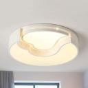 Restaurant Crescent & Heart Flush Mount Light Acrylic Modern Warm/White Lighting LED Ceiling Lamp