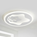 Cartoon Star LED Flush Mount Light Eye-Caring Acrylic White Ceiling Light in Warm/White for Teen