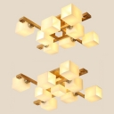 Wood Checkerboard LED Semi Ceiling Mount Light Villa 8/9 Heads Asian Style Ceiling Fixture in Beige