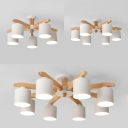 Cylinder Shade Living Room Ceiling Light Wood 5/6/8 Lights Contemporary LED Semi Flush Light in White