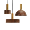 Modern Brown Pendant Light Grain Dome/Round 1 Head Wood Suspension Light for Living Room Bar
