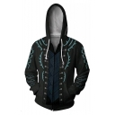 Fashion Comic Cosplay Costume 3D Printed Long Sleeve Black Zip Up Hoodie