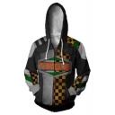 Torgue Yellow Checkerboard 3D Comic Cosplay Costume Long Sleeve Zip Up Hoodie