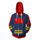 Popular Comic Cosplay Costume 3D Printed Long Sleeve Zip Up Blue and Red Hoodie