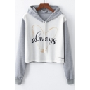 Heart Letter ALWAYS Printed Color Block Long Sleeve Cropped White Hoodie