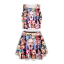 Popular Ahegao Comic Girl Printed Sleeveless Tank Top with Mini Skirt Two-Piece Set