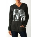 Ethnic Style Elephant Print Long Sleeve Loose Fit Casual Hoodie