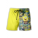 Cute Cartoon Comic Character Printed Drawstring Waist Casual Sport Shorts for Men