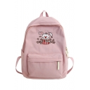 Cute Cartoon Cat Letter THREE FEATHER Printed School Bag Backpack 31*12.5*38 CM