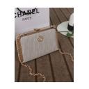 Fashion Plain Metal Edge Rhinestone Embellishment Clutch Bag with Chain Strap 21*13*3 CM