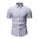 Summer Fashion Printed Short Sleeve Concealed Button Front Slim Shirt for Men