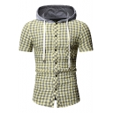 Mens Stylish Plaid Pattern Short Sleeve Button Front Drawstring Hooded Slim Shirt