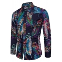 Hot Popular Chinese Style Feather Printed Long Sleeve Navy Slim Fit Linen Shirt