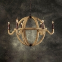 6 Lights Globe Chandelier with Candle American Rustic Beige Hanging Light in Beige for Cafe