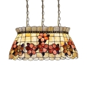 Beige Floral Skirt Pendant Light 3 Lights Rustic Stylish Shell Hanging Light for Restaurant