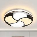 Cartoon Fan Shaped Flush Mount Light Acrylic Black & White LED Ceiling Lamp in Warm/White for Living Room