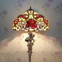 Stained Glass Blossom Dragonfly Floor Lamp Living Room 3 Heads Rustic Floor Light with Girl in Brass