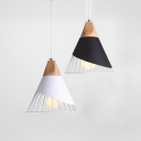 Industrial Cone Pendant Lamp with Iron Wire Aluminum 1 Light Black/White Hanging Light for Study Room