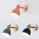Domed Child Bedroom Sconce Light Wood 1 Light Modern Macaron Wall Lamp in Blue/Green/Pink