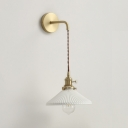 1 Light Cone Hanging Wall Light Contemporary Fluted Ceramics Sconce Light in White for Stair