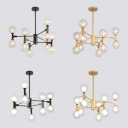 Spherical Shade Study Room Chandelier Glass Twelve Lights Contemporary Hanging Light in Black/Gold