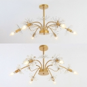 Metal Firework Pendant Light 7 Lights Creative Chandelier with Crystal Decoration for Living Room