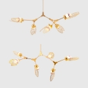 Contemporary Linear Chandelier 5/6 Light Branch Kitchen Island Lighting in Gold Finish