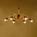 Industrial Beige Chandelier with Orb Shade 6 Lights Manila Rope Pendant Lamp for Cloth Shop