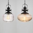 Vintage Black Pendant Light with Cylinder/Oval Shade 1 Light Fluted Glass Hanging Lamp for Bathroom