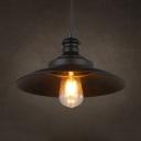 Antique Saucer Shape Hanging Light Metal 1 Light Black Pendant Light with Adjustable Cord for Factory