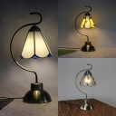 Tiffany Beige/Clear/White Desk Light Cone Shade 1 Head Art Glass Desk Lamp for Child Bedroom
