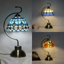Cafe Hotel Dome Table Light Stained Glass One Head Traditional Tiffany Desk Light with Plug-In Cord