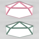 Acrylic Pentagon Shape Ceiling Light Nordic Style Warm/White Lighting LED Flush Light in Green/Pink for Child Bedroom