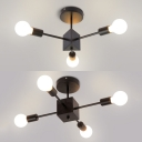 Metal Bare Bulb Ceiling Fixture 3/4 Lights Modern Style Semi Flush Mount Light in Black for Study Room
