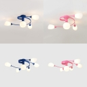 Macaron Stylish Bud Semi Flush Ceiling Light 4/6 Lights Opal Glass Ceiling Lamp in Blue/Pink for Bedroom