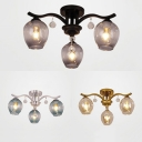 Contemporary Oval Shade Ceiling Mount Light Glass 3 Bulbs Black/Gold/Silver Flush Light with Crystal for Hotel