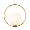 One Light Spherical Hanging Light Simple Contemporary Milk Glass Pendant Light in Gold for Bathroom