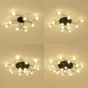 Glass Orb Shade Semi Ceiling Mount Light Restaurant 8/12/16/20 Lights Modern Style Ceiling Fixture in Black