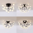 Glass Modo LED Semi Flush Ceiling Light Cloth Shop 15/27/36/45 Lights Contemporary Ceiling Lamp in Black